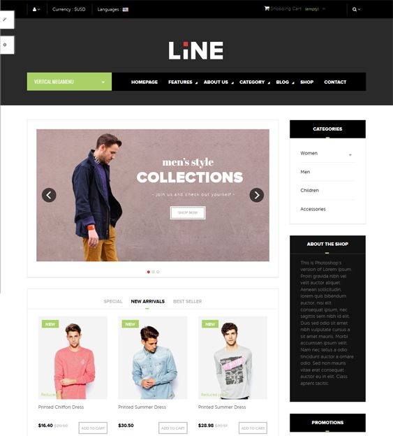 This minimal PrestaShop theme has Bootstrap integration, a responsive layout, parallax effects, Google Fonts, a mega menu module, a slideshow module, product zoom, a blog module, Twitter integration, a live theme editor, and more.