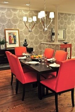 Red upholstered dining room chairs modern graphic gray for Grey dining room wallpaper