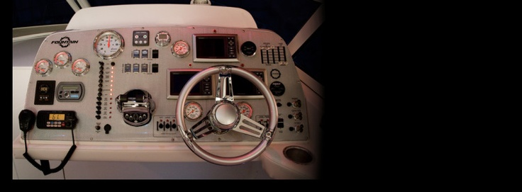 New 2012 Fountain Boats 48 Express Cruiser Express Fisherman Boat - A view from the captains chair.