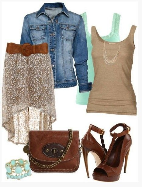 Brown Spring Outfit,denim jacket, fishtail dress and brown pumps