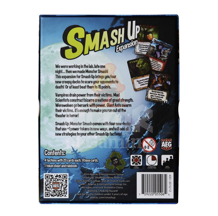 Monster Smash is one of the best selling expansions of Smash Up! It's designed to work well for two players (though it's not recommended). This expansion is all about power counters (you use VP's on your cards that represent these power counters) and you can do pretty much everything with them!