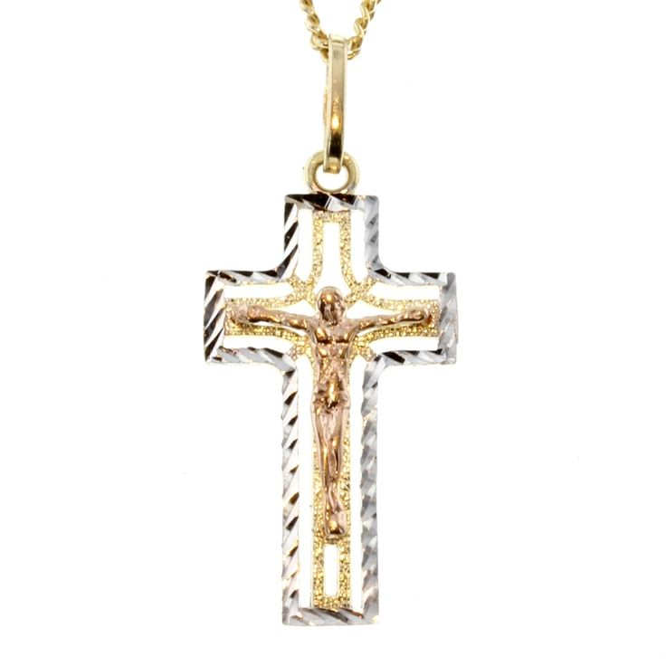 Buy 9ct Tri Tone Gold Cross Pendant (RCP-15) online at Chain Me Up