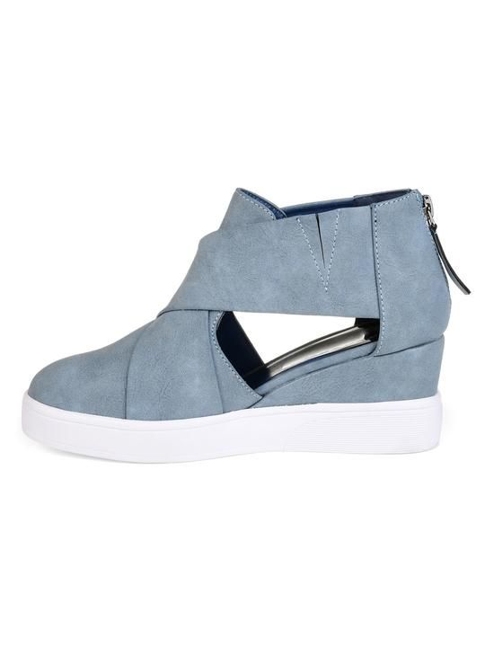 90fa43bc0e9 Criss-cross Cut-out Wedge Sneakers Plus Size Wedge Heel Shoes with Zi –  Mollyca
