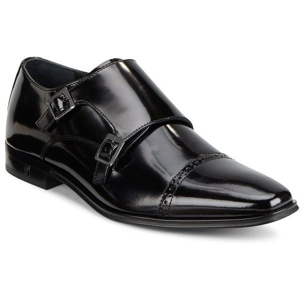 Versace Collection Leather Double Monk Shoes ($200) ❤ liked on Polyvore featuring men's fashion, men's shoes, men's dress shoes, black, mens leather shoes, mens black leather shoes, mens black shoes, versace mens shoes and mens shoes