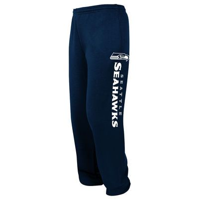 Men's Seattle Seahawks Majestic College Navy Tipped Pass Fleece Sweatpants