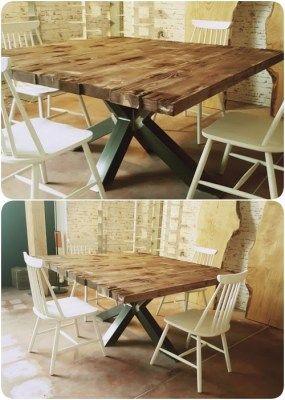 Tavolo da pranzo quadrato legno massello stile industriale con gamba centrale 140x140x75