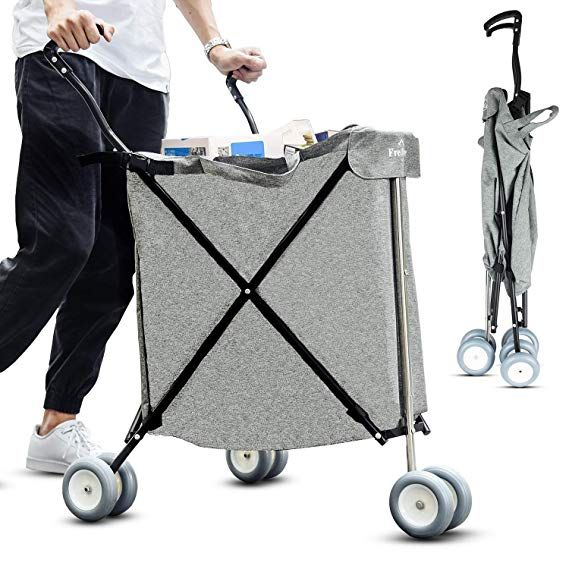 Freshore Grocery Shopping Cart With Wheels Collapsible Push