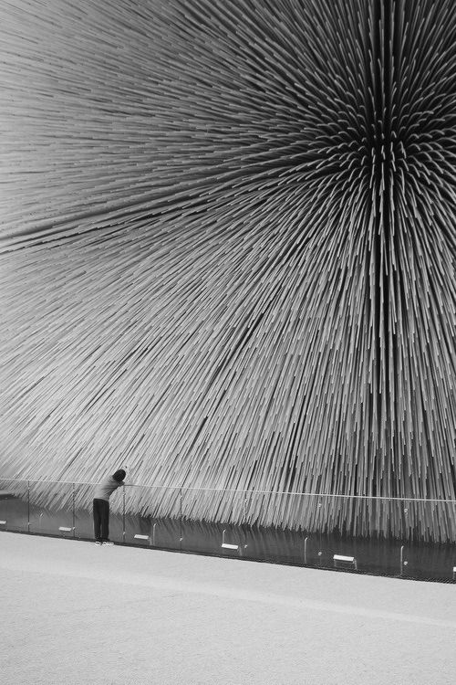Striking black and white image. Thomas Heatherwick British Expo Pavilion