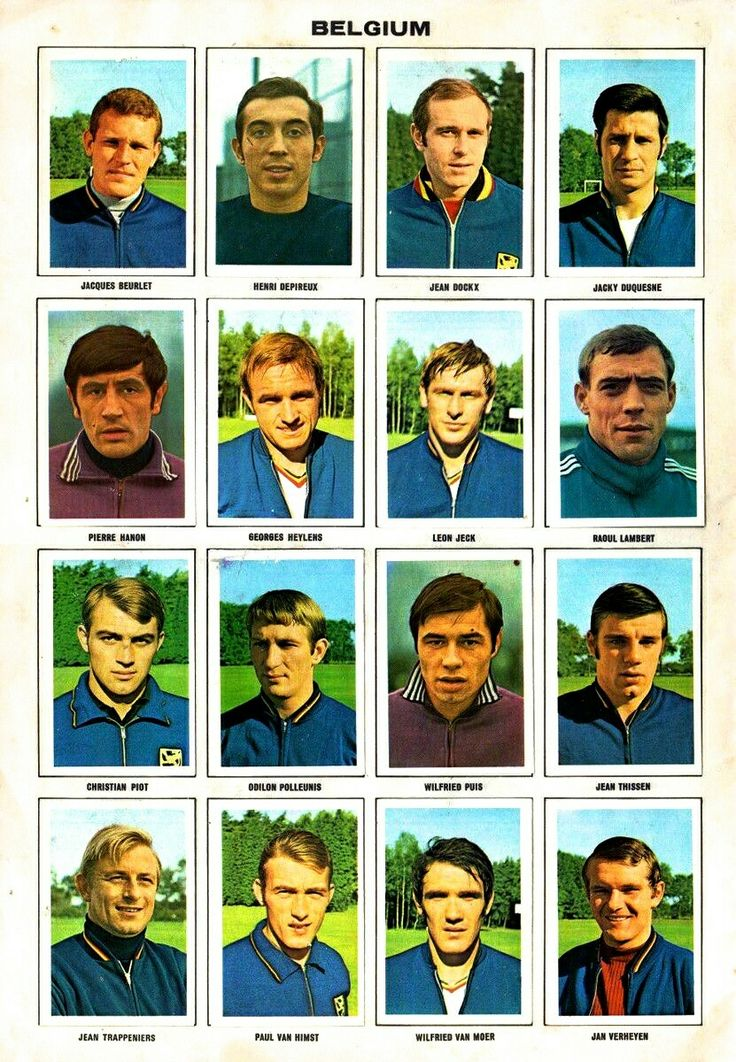Belgium team stickers for the 1970 World Cup Finals.
