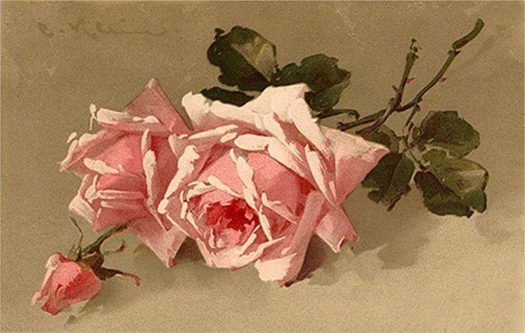 Для создания, старинная открытка розы