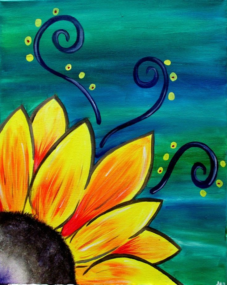Sunflower Whimsy, whimsical beginner painting idea with swirls.