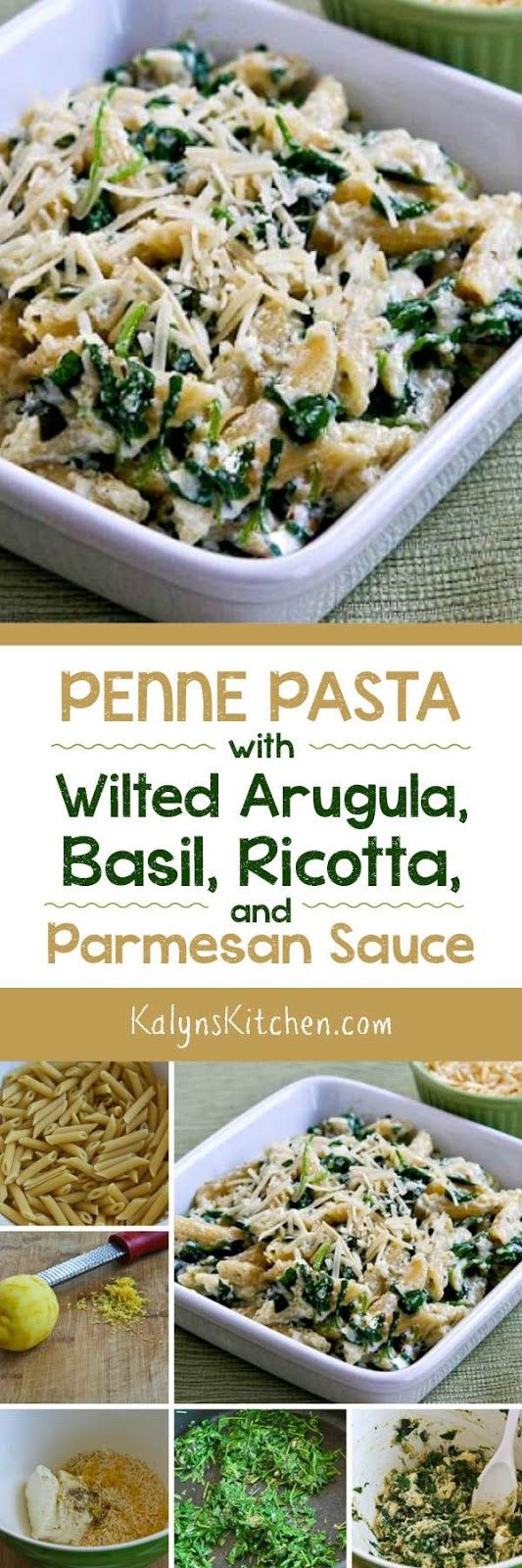 Arugula fans will swoon over Penne Pasta with Wilted Arugula, Basil, Ricotta…
