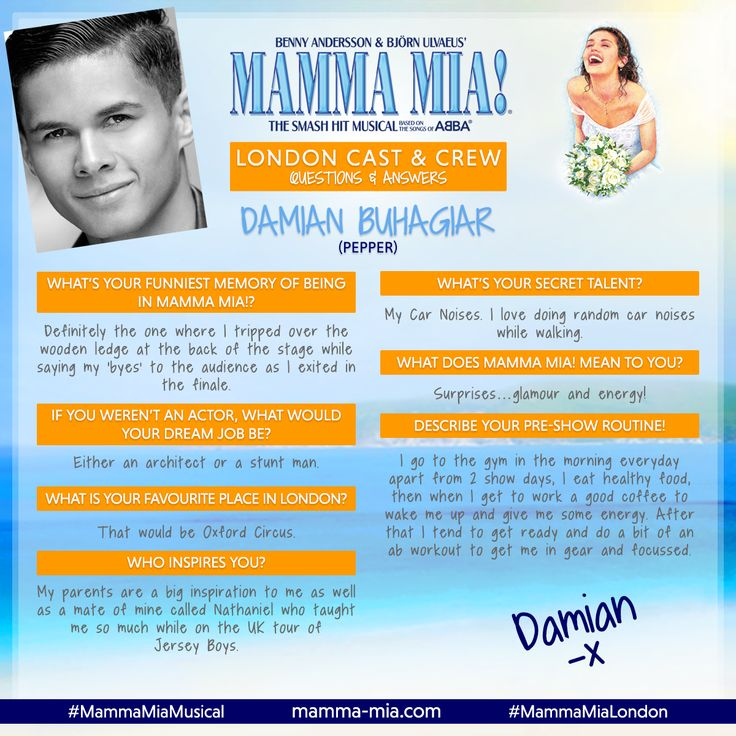 Say hello to the f-ABBA-lous Damian Buhagiar, who plays Pepper in the London production of MAMMA MIA! 😃  Join the fun at the Novello Theatre, currently booking to 3 March 2018: www.mamma-mia.com  #MammaMiaMusical #MammaMiaLondon #MeetTheCast