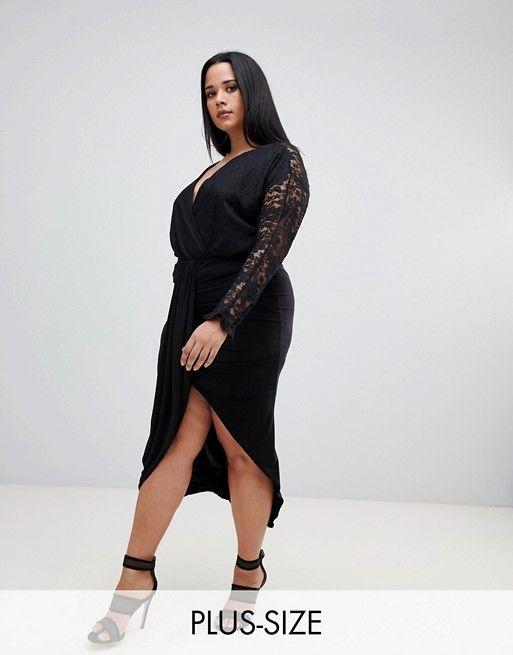 e8dc91f4399 PrettyLittleThing plus slinky wrap skirt in black in 2018