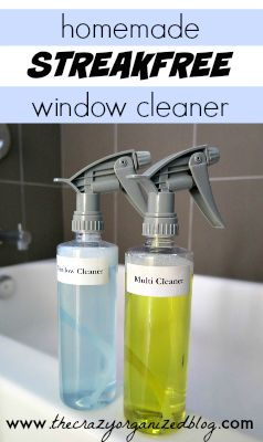 Homemade Streak free Window Cleaner with ingredients from your kitchen!   thecrazyorganizedblog.com