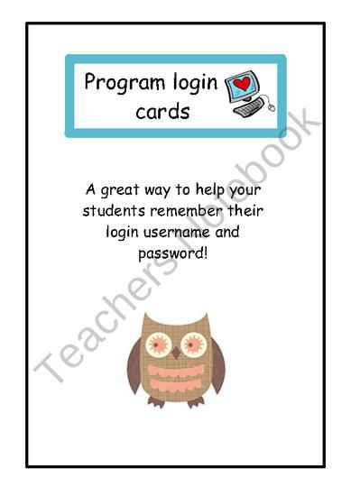 Student login cards from Little Learners- little hands and feet, big potential! on TeachersNotebook.com (3 pages)