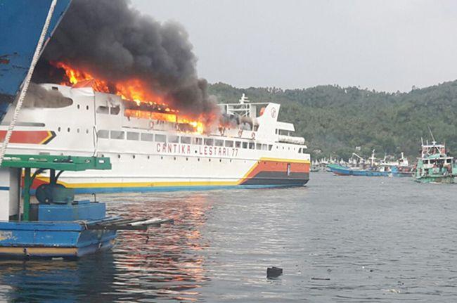Siap Berlayar ke Ambon, KM Cantika Lestari 77 Terbakar di Bitung