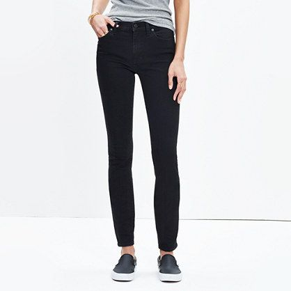 """9"""" madewell skinny in black frost $128"""