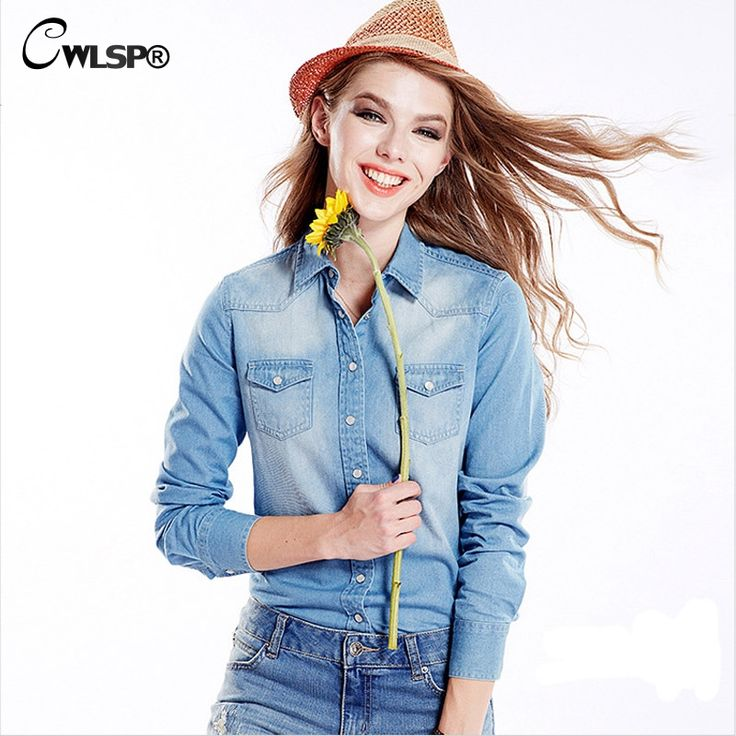 Plus Size Women's Denim Shirts Blouses New Fashion Spring Autumn Femme Long Sleeve Turn-Down Collar Fitted Denim Top Jeans LL064
