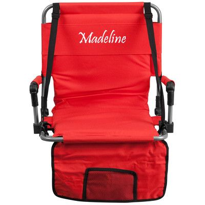 Flash Furniture Folding Stadium Chair Chair Color: Red, Thread Color: Floral Pink