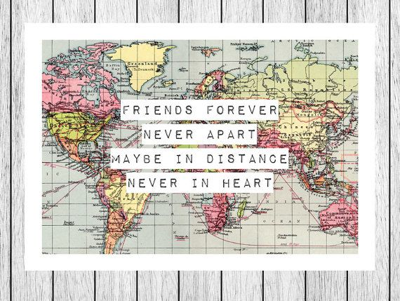 Wedding Gift Ideas For Distant Friends : Print, Friendship Quote, Map 8x10, Friend Gift, Long Distance, Friend ...