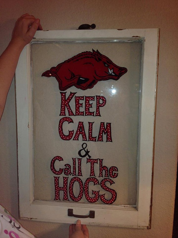 Razorback painted vintage window Keep Calm by TwoLittleJayBirds, $75.00