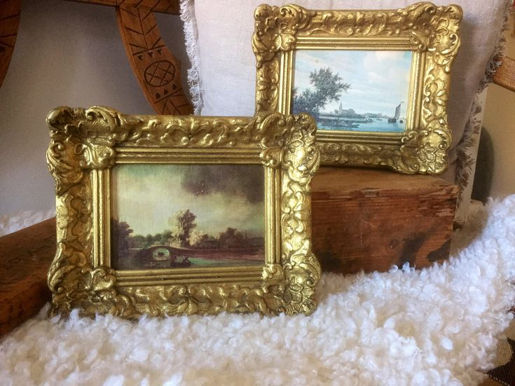 Pair/gold/wooden/wood/ornate/frames/stamped holland/Victorian/Hollywood regency by WifinpoofVintage on Etsy