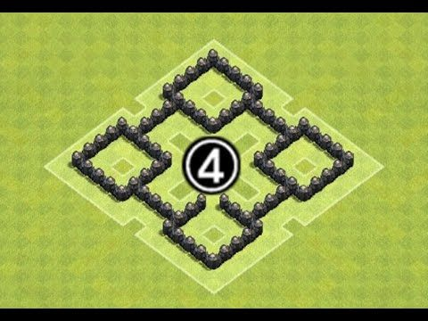 """Clash of Clans Town Hall 4 (TH4) Farming Base Defense Speed Build """"Four Square"""" [Clash of Clans] - YouTube"""