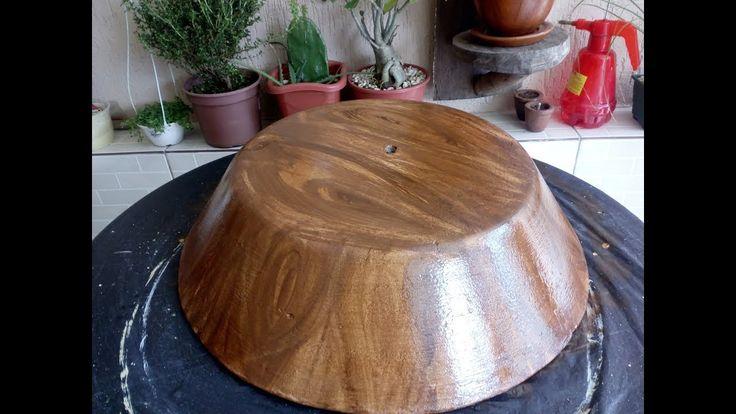 Pintura Efeito Madeira em vaso de Cimento