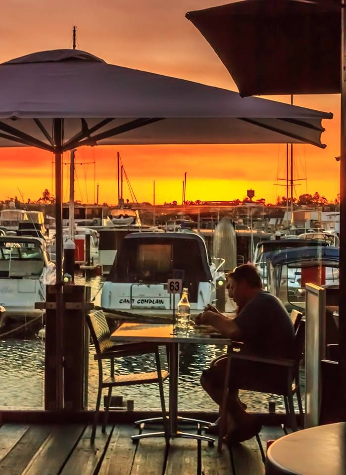 What a fantastic setting for fish & chips. Sharky's @ Dolphin Quays, Mandurah Western Australia
