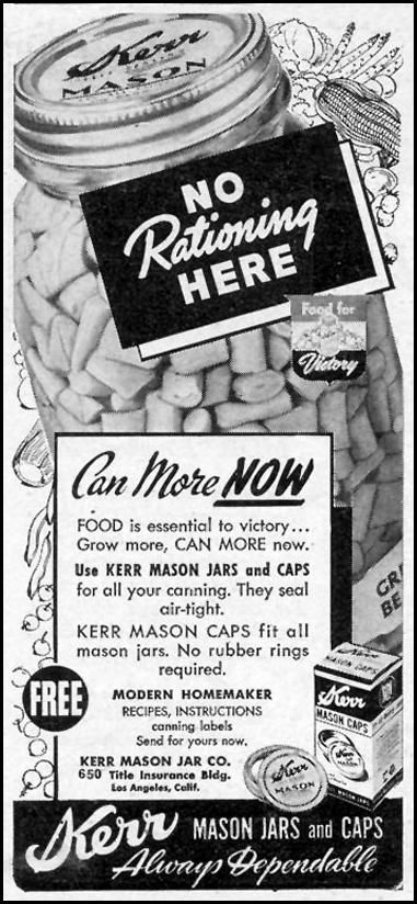No Rationing Here, Kerr Mason Jars, Woman's Day 06/01/1943