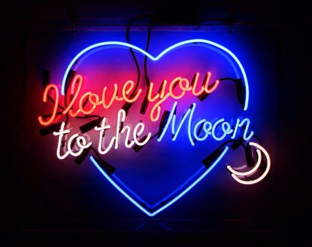 black, blue, crescent moon, dark, heart, i love you, indie, light, love, moon, neon, night, quotes, red, sign, soft grunge, text, to the moon, vintage, white, words