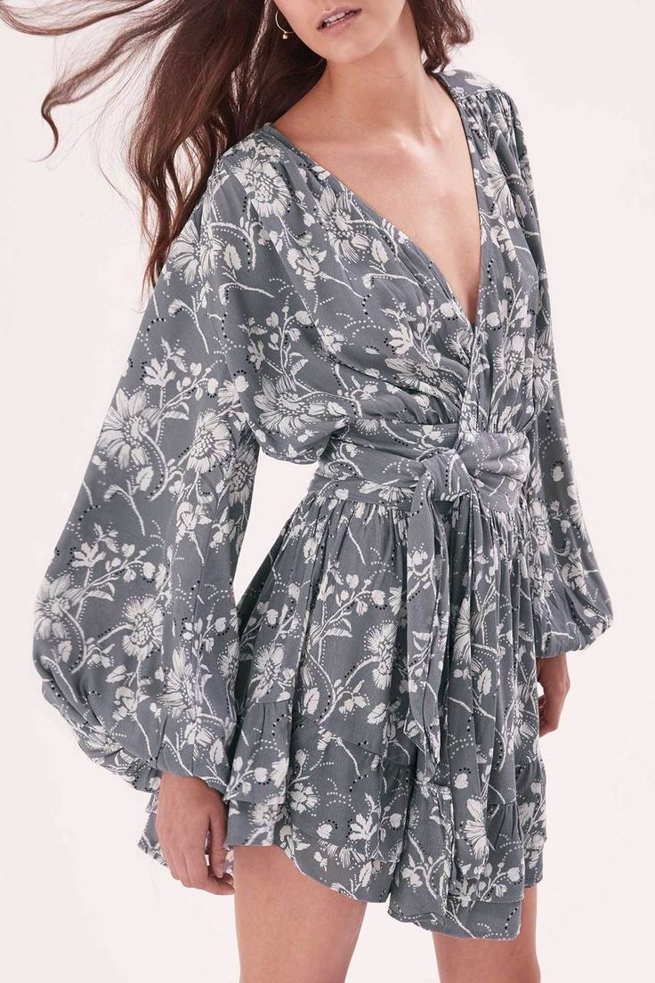 Steele - Wrap Wildflower Dress - Ash