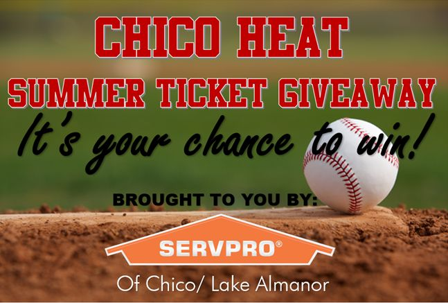 Who wants to go to the Chico Heat game tonight for free? SERVPRO of Chico/Lake Almanor is giving away 4 tickets to tonight's game now! All you have to do is Like, Share, and Comment on this post on our Facebook Page for your chance to win!  Good luck! ⚾