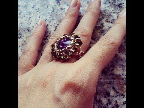 Tutorial perline: anello Dahlia con delica, rocailles e cristalli swarovski; parte2 - YouTube