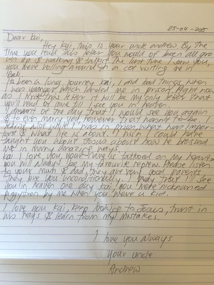 Bali 9 executions: Andrew Chan's letter to the nephew he adored