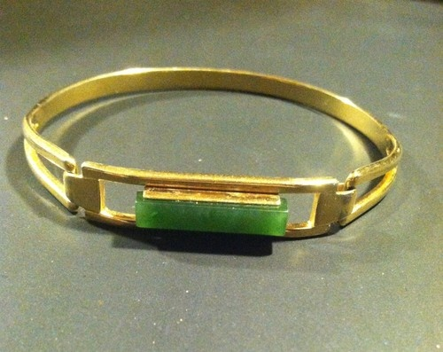 Vintage Avon Art Deco Green Jade Gold Tone Bracelet From