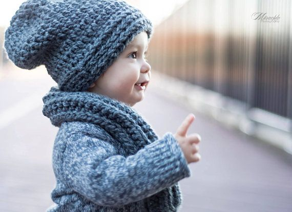 Grey Slouchy Hat and Scarf for Toddler Crochet by angelicadanilov