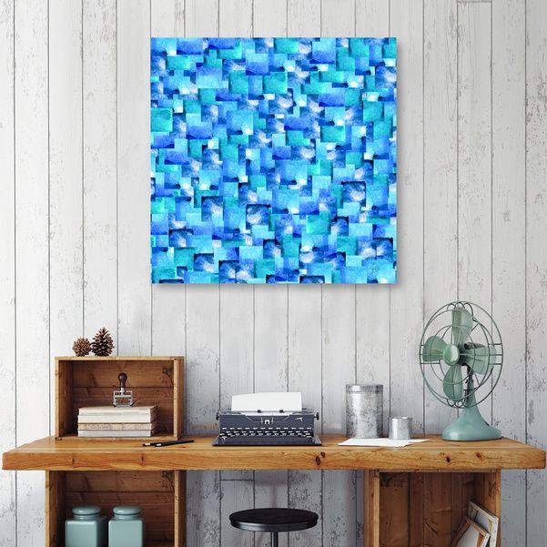 Discover «Ocean Slate», Numbered Edition Canvas Print by Amaya Brydon - From $49 - Curioos  @curioos #art #artprint #blue #geometric #squares #art #wallart #abstract #interiordesign #decor #design