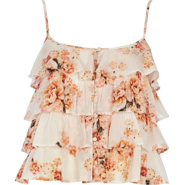 River Island Cream floral ruffle crop top found on Polyvore