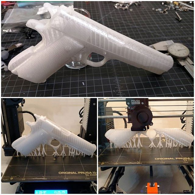Replica 1911 printed on an Original Prusa MK2 at .2mm. Hopefully I can get it polished up and painted, and hand it over to it's new owner this…