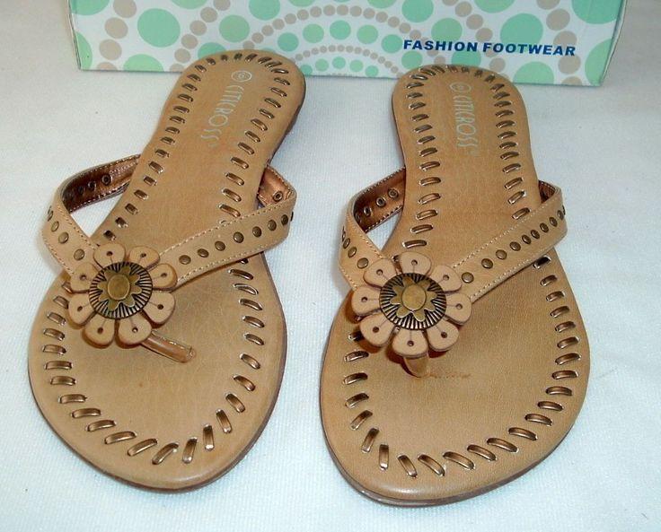 "Woman'S Camel Sandals/Flip Flops 1/2"" Heel By Citicross ""Aviso"" Free Shipping"
