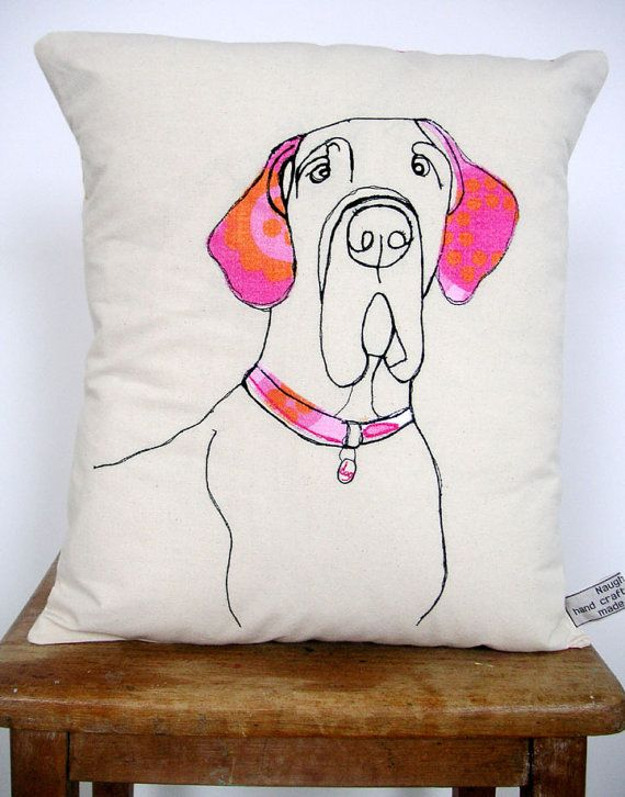 Dog cushion by florencev4 on Etsy...sold but she does custom work