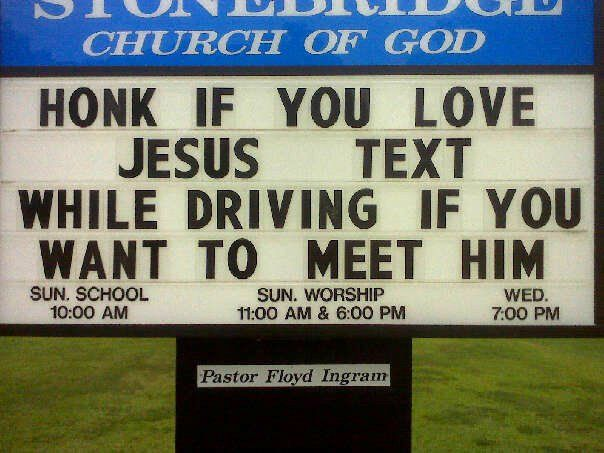 Another church sign with a community service announcement.