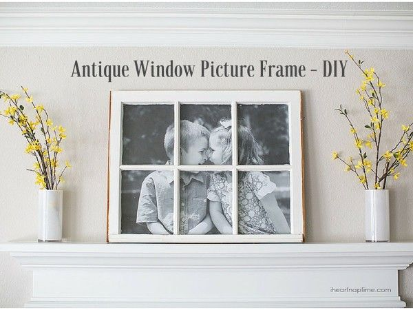 How adorable is this mantle picture frame?! It's made from an antique window frame and a cute black and white photo on the back. Most major cities have architectural salvage places. If you've never been to one, then you have to make a trip out of it! You can find all sorts of things that are true and authentic to the period you are looking for. Stuff like actual 1800s bricks (from old buildings), signs from the 1930s, latches, door handles, and windows... Supplies Needed: Vintage window…