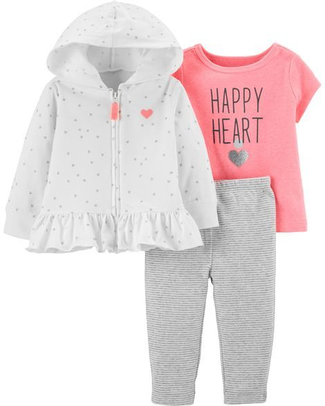 e6314e11f 3-Piece Heart Cardigan Set Carters Baby Girl, Baby Girls, Happy Heart,
