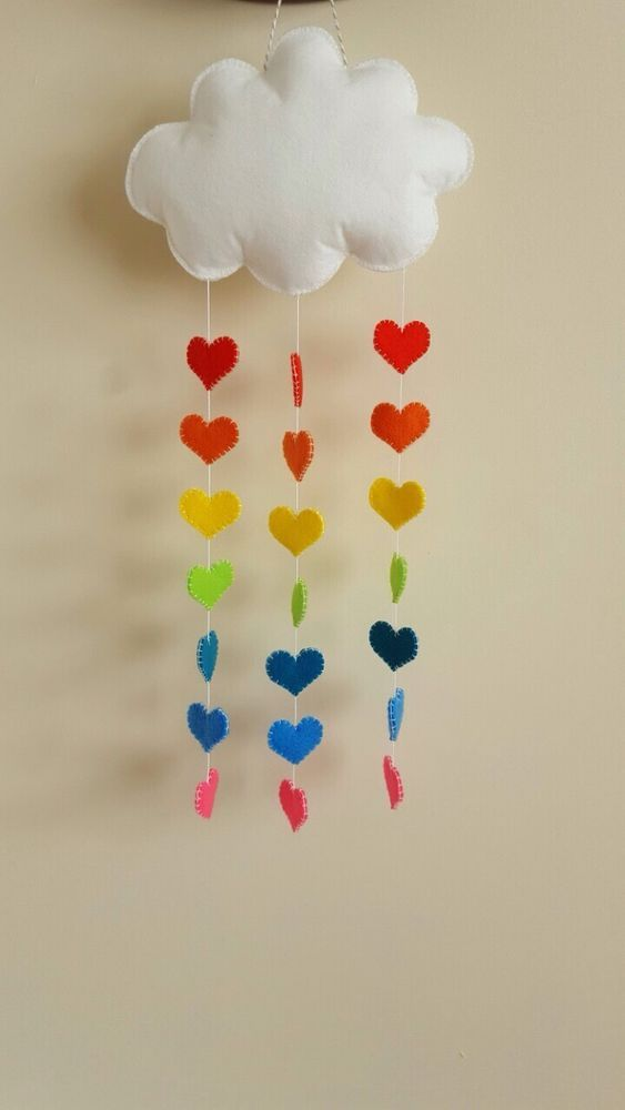 Felt Cloud And Rainbow Hearts Baby Nursery Mobile/hanging Handmade in Baby, Nursery Decoration & Furniture, Mobiles | eBay!
