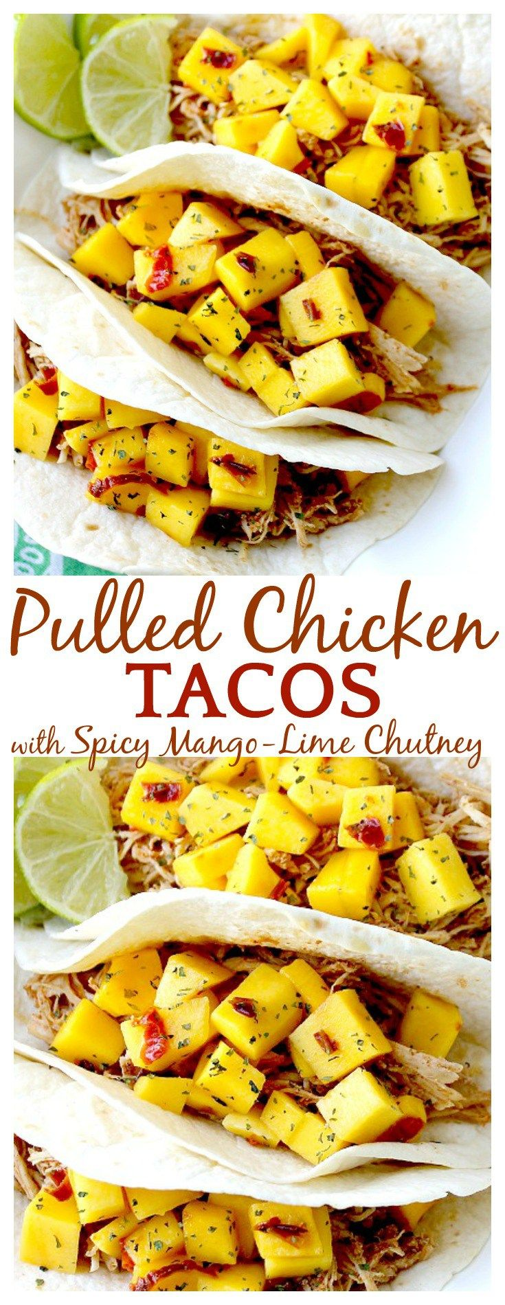 Such a fun, yummy way to change up taco night once in awhile! This pulled chicken taco recipe uses a traditional taco seasoning in the chicken and then a sweet and spicy mango chutney on top - sooooo good!