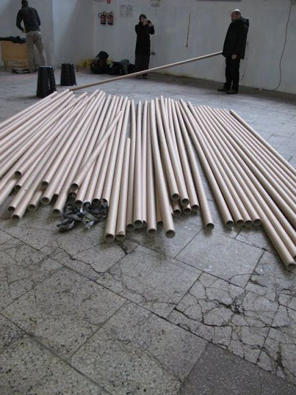cardboard tubes where to find: textil or paper industries tips: better for interior spaces