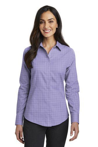 bc1083d9b7 Red House® Ladies Windowpane Plaid Non-Iron Shirt
